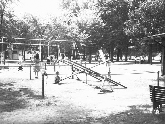 Here's the playground at Ontario State Beach Park in 1941. Note the totally awesome seesaws that totally unawesomely do not exist anymore. [PHOTO: Rochester Municipal Archives]