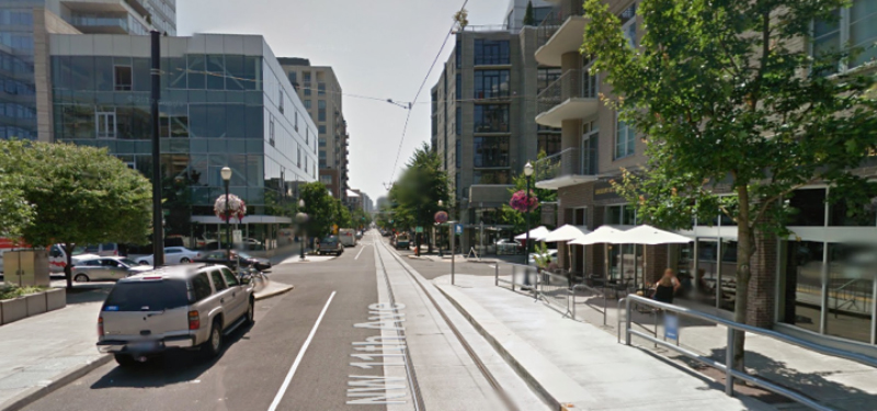 Six buildings near the marina would be arranged around a new streetcar line.