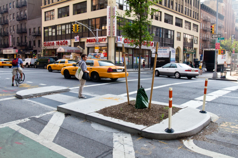 Pedestrian refuges would be built at each intersection, reducing crossing distances significantly for pedestrians in the area.