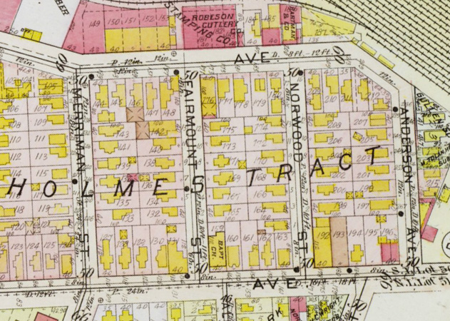 The Holmes Tract included about 75 houses or 210 residents in 1926.