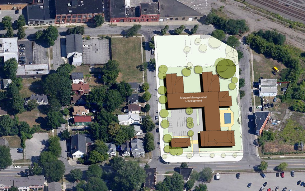 A possible solution to the 933 University Ave. development dispute... Put the Morgan development on this Gleason site instead. George Eastman House could then buy the Voiture House at 933 University. Density returns to the Holmes Tract - and everybody's happy?