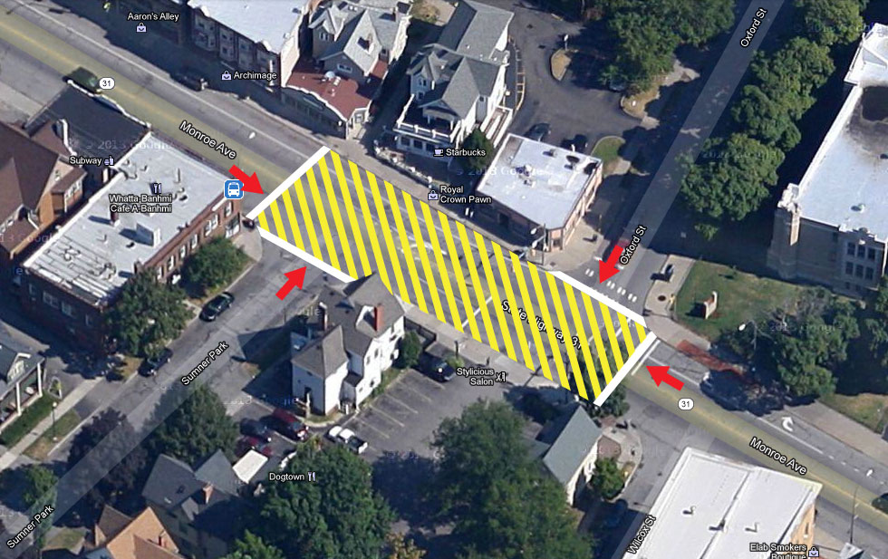 Many dangerous crossings happen here, and a marked crossing here would help.  Possibly even adjusting the traffic light at Oxford, so that eastbound traffic stops at Sumner Park and westbound traffic stops at Oxford. [IMAGE: Google Maps]