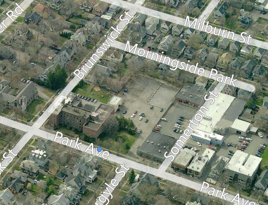 John Baker, Steve Gullace, Chris Gullace have proposed to construct a new gym and a 48 unit apartment building here at 759 Park Ave. [IMAGE: Bing Maps]