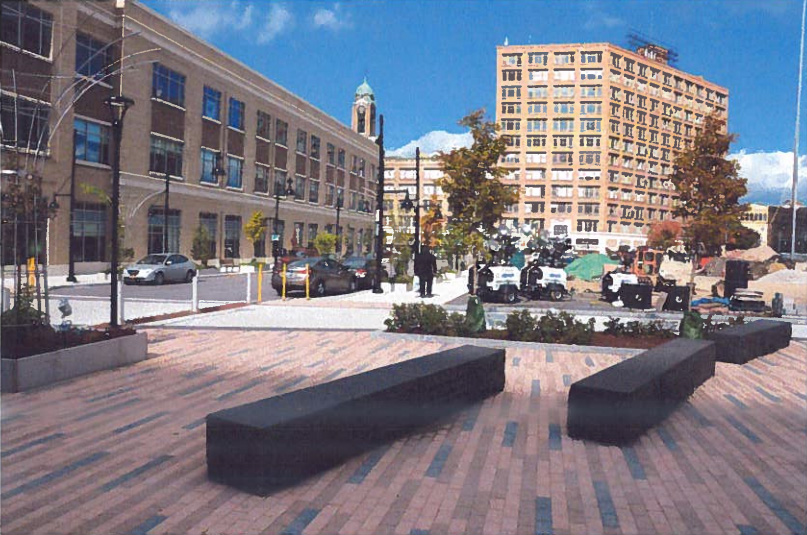 View of Midtown Parcel 5 from the southwest corner. Windstream building to the west, Sibley building to the North.