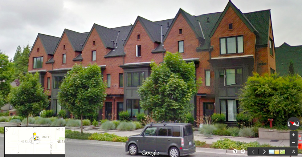 Facing Marshall and then around to the park would be a series of 24 foot wide townhouses.