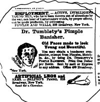 Advertisement for Dr. Tumblety's Pimple Banisher.