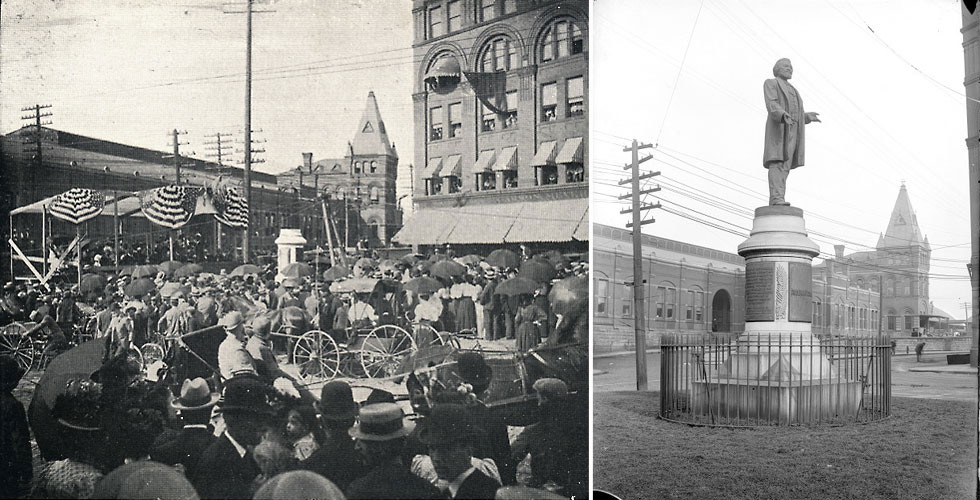 LEFT: A view showing the laying of the cornerstone of the monument to Frederick Douglass in Rochester. The ceremony took place on July 20, 1898 and was attended by hundreds of citizens. [IMAGE: Rochester Public Library] ... RIGHT: The Frederick Douglass monument, made by Sidney W. Edwards, was first unveiled in 1899, facing south, at Central Avenue and St. Paul Street. The New York Central Railroad Station is in the background. It was later moved to Highland Park and rededicated, September 4, 1941. It now faces north. [IMAGE: Albert R. Stone Collection]