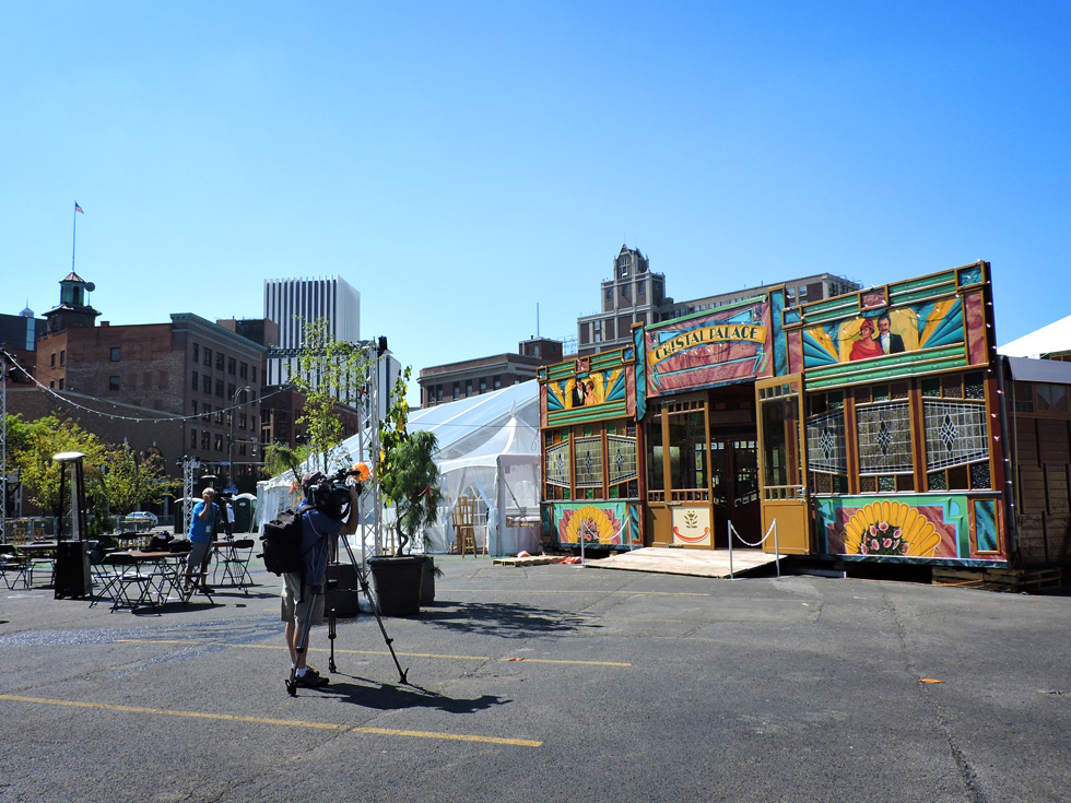 The Spiegelgarden readies for opening day. It's here, at the corner of Main and Gibbs, that you'll meet to begin your tour. [PHOTO: Joanne Brokaw]