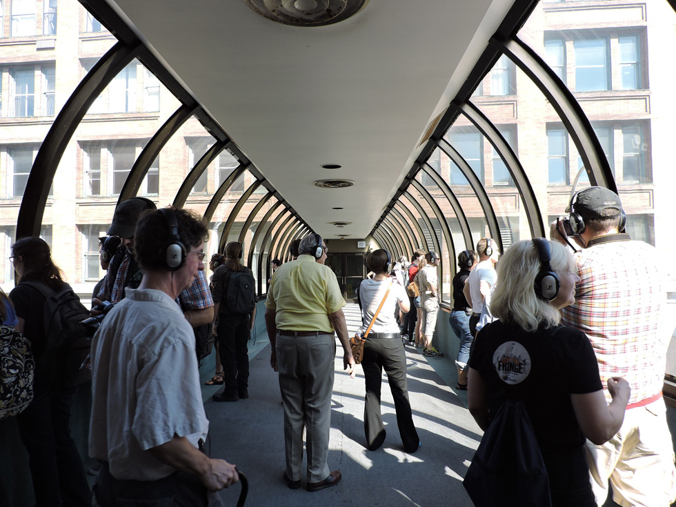 The city streets look different from above, in a glass tube. [PHOTO: Joanne Brokaw]