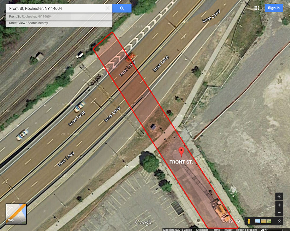 Approximate location of Front Street if it still extended to the rail tracks.