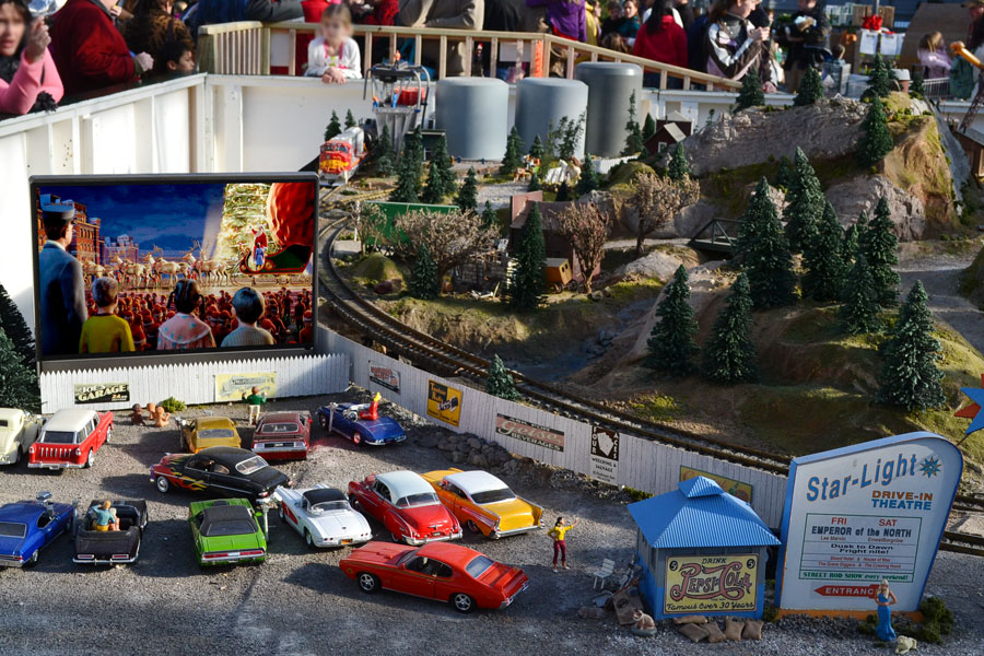 A real working drive-in! Now playing, what else but 'Polar Express'.