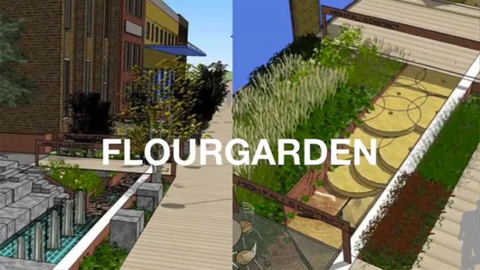 Phase 1: Conversion of Browns Race into the FlourGarden. [IMAGE: Friends of the GardenAerial]