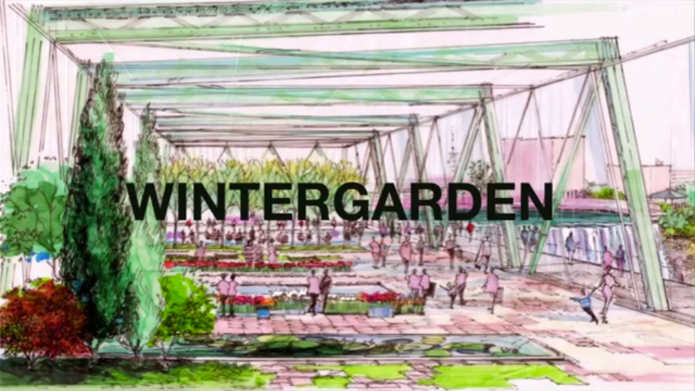 Phase 3: A re-imagined Ponte de Rennes bridge and a new wintergarden on the east side of the gorge. [IMAGE: Friends of the GardenAerial]
