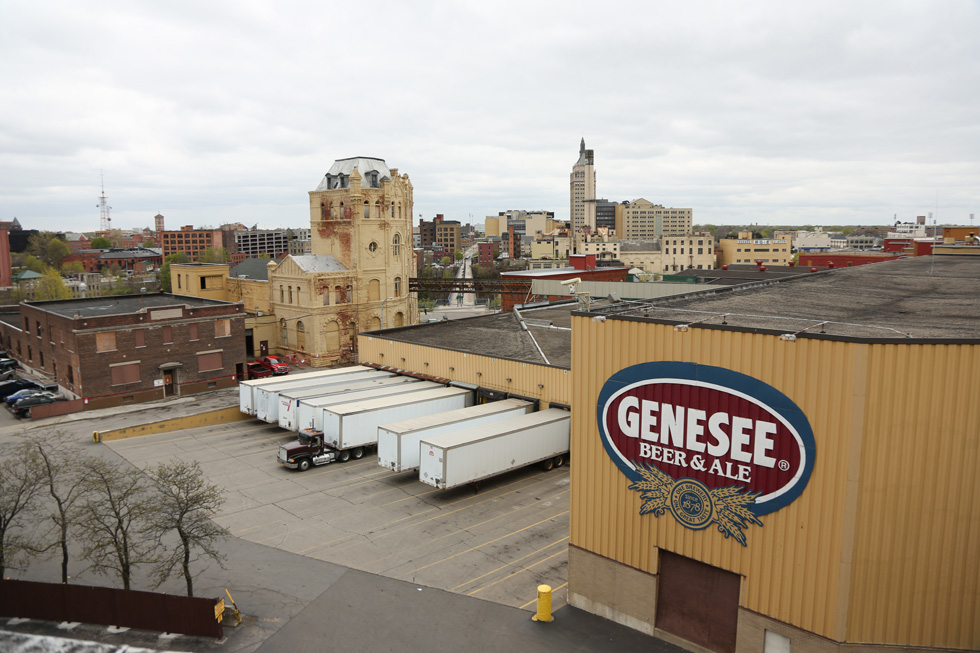 Doomed Brewery buildings as seen from Cataract Street from Saint Paul Street. The High Falls Historic District and Kodak Tower are in the background. [PHOTO: Crystal Pix, Inc.]
