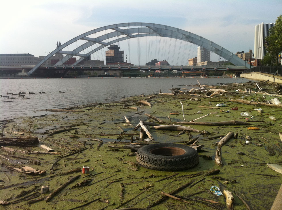 Local photographer Clarke Conde has been snapping photos of the Genesee River all year. This patch of trash had been growing slowly like a giant, smelly tumor. [PHOTO: Clarke Conde]
