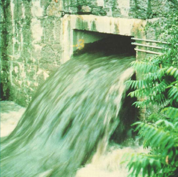 The used water of a community is called wastewater. If it is not treated before being discharged into waterways, serious pollution will result. The photo at left depicts an overflow point of the Rochester City sewers into the Genesee River in the 1970s. [PHOTO: Monroe County Environmental Services]