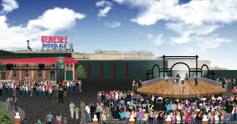 A stage where 13 Cataract brewhouse used to be? Not sure if this is serious or not. [RENDERING: Eric Mower and Associates]