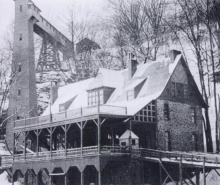 In 1870 Ellwanger & Barry (and other wealthy investors) owned a spot along the west bank of the Genesee River gorge known as Maple Grove. At the time, the Lake Avenue streetcar line stretched all the way to this point, and in an effort to stimulate traffic on the trolley line, they had built Rochester's first water-side resort; the Glen House. [PHOTO: 'Rochester's Lakeside Resorts and Amusement Parks' by Donovan Schilling]