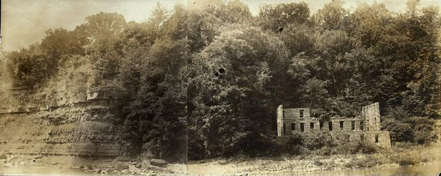 The ruins of the Glen House on the banks of the Genesee River, destroyed by fire May 4, 1894. Two photographs have been taped together to give a panoramic view.  [PHOTO: Rochester Public Library]