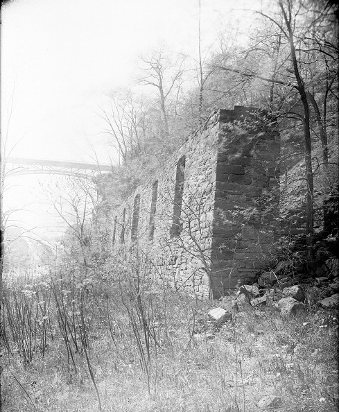 A stone wall with window openings, surrounded by brushy woods – the ruins of the old Glen House, near the Driving Park Bridge. [PHOTO: Albert R. Stone]