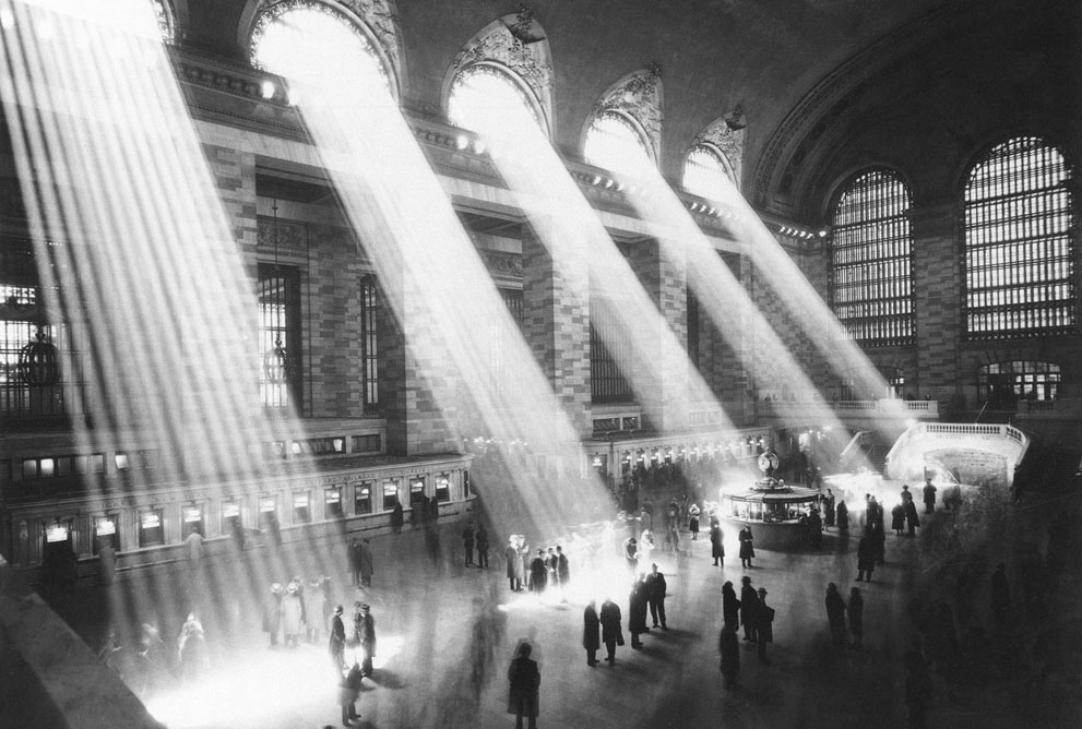 Sunlight streams through the windows in the concourse at Grand Central Terminal in New York City in 1954. [IMAGE: AP Photo]