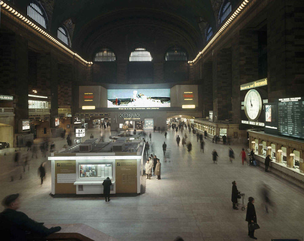 A view of the interior of the grand concourse of New York's Grand Central Terminal with Kodak Colorama in the background. Some time after the morning rush hour. January 9, 1968. [IMAGE: AP Photo]