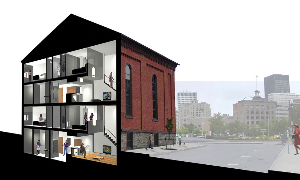 The Halo Lofts at Grove Place. Adaptive reuse of an old church in Rochester. [RENDERING: CJS Architects]