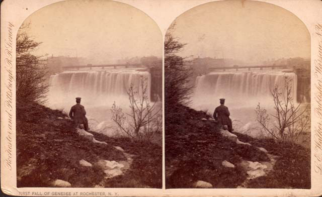 A stereogram of High Falls (c.1885) [PHOTO: Rochester Public Library]