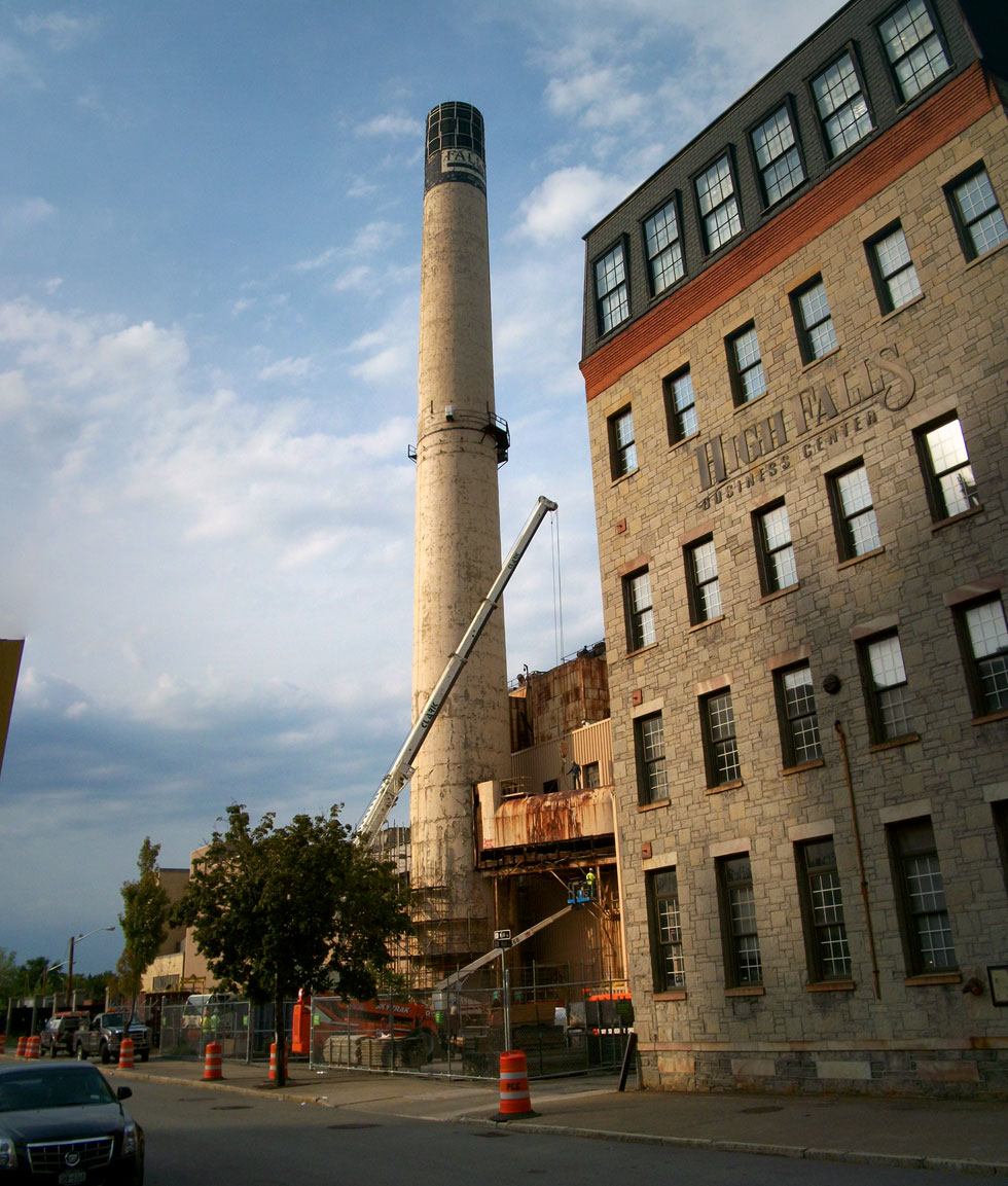 The end is near for the iconic High Falls smoke stack. [PHOTO: RochesterSubway.com]