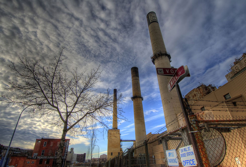 Two of Beebee Station's three smokestacks were removed in 2007. [FLICKR PHOTO: rlr77]