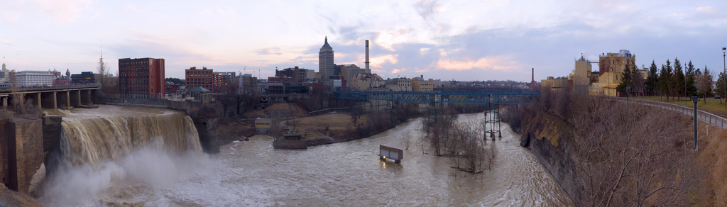 A seven shot panorama of the High Falls in Rochester NY. The falls on the left. Kodak office in the center. High Falls Brewery on the right. [FLICKR PHOTO: steeladw]