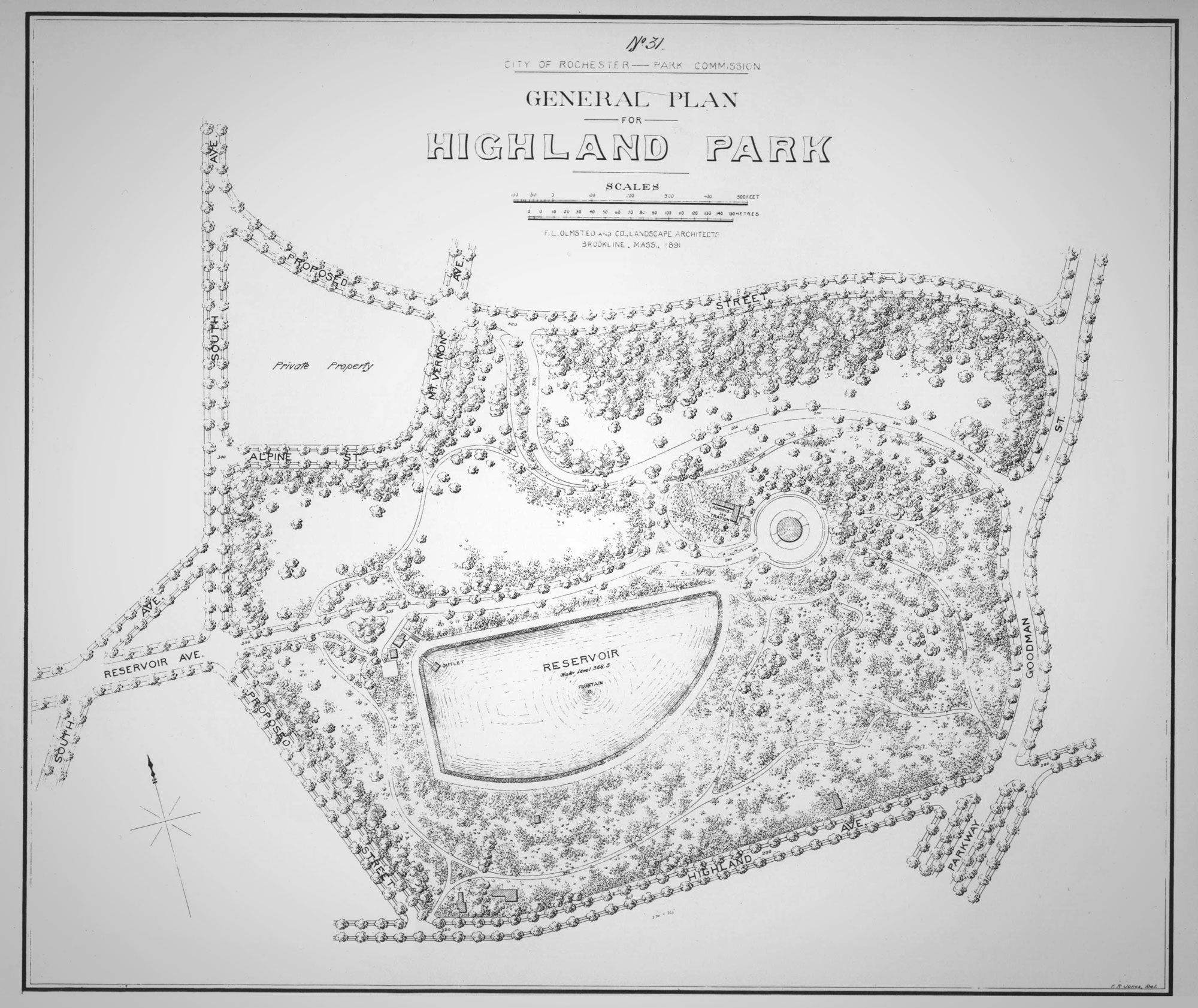 Original plan drawing of Highland Park by Frederick Law Olmsted & Co.