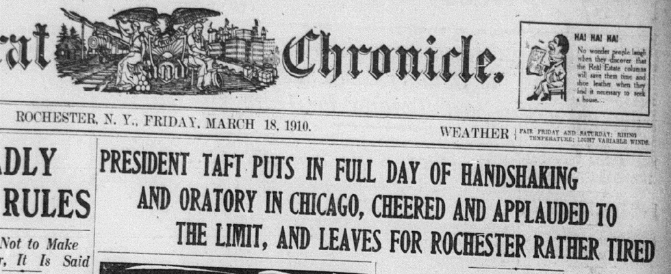 Headline in the Democrat and Chronicle. March 18, 1910.