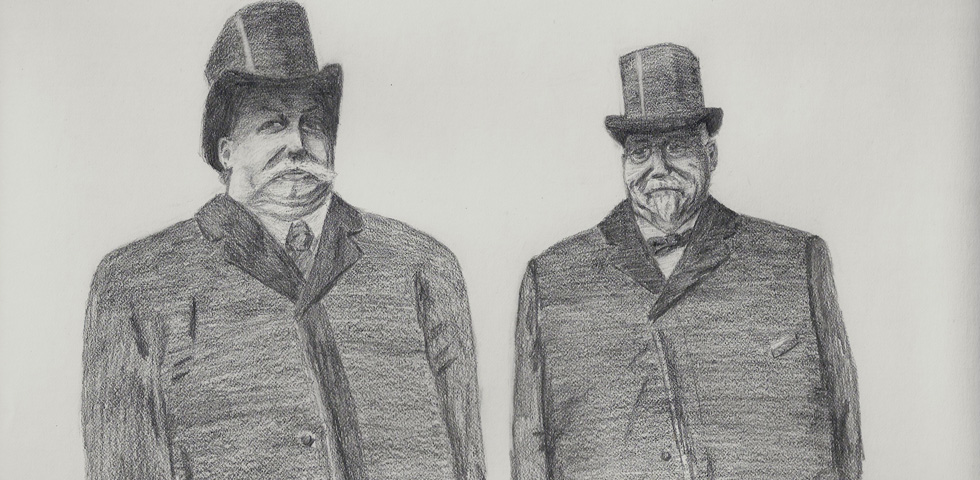 Artist rendering of Taft's meeting with Mayor Edgerton. Edgerton is positioned slightly behind Taft. [IMAGE: Jimmy Combs]
