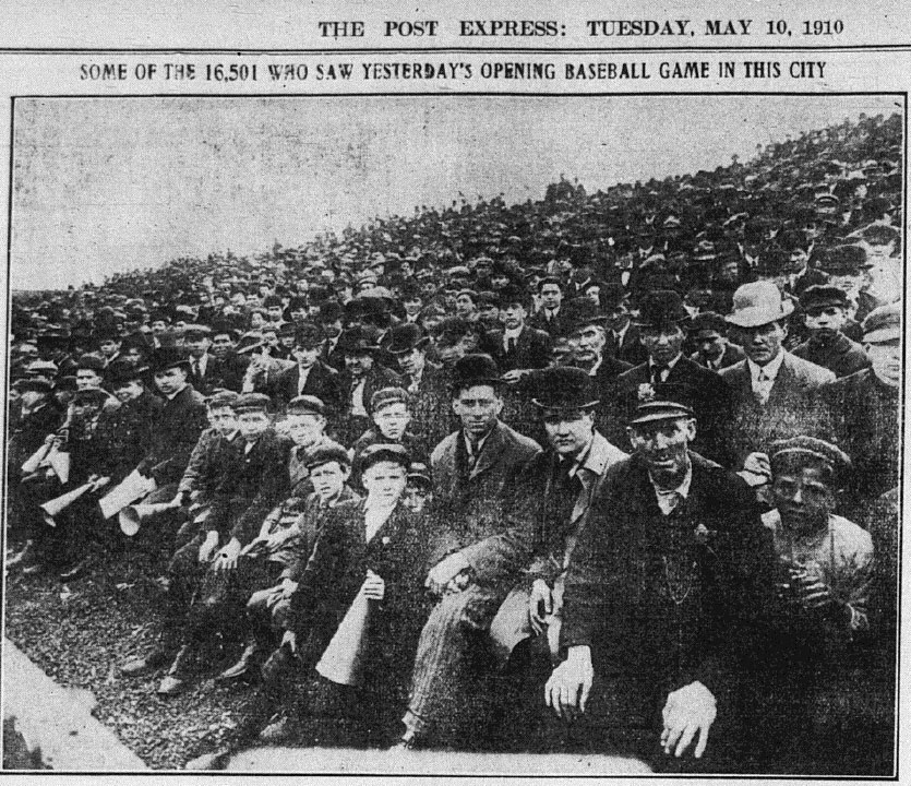 A record crowd of 16,501 turns out for opening day in Rochester. May 9, 1910.