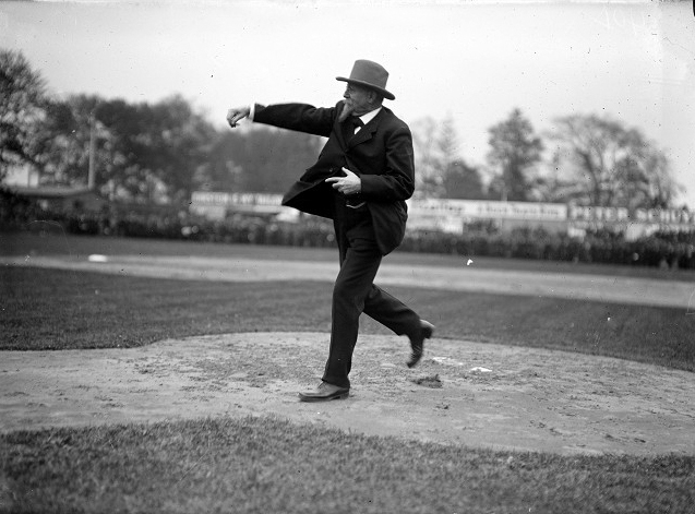 Mayor Edgerton throws the opening pitch in Rochester, May 9, 1910. [PHOTO: Albert R. Stone]