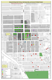Map of infill development as part of the Holy Rosary Church apartment project.
