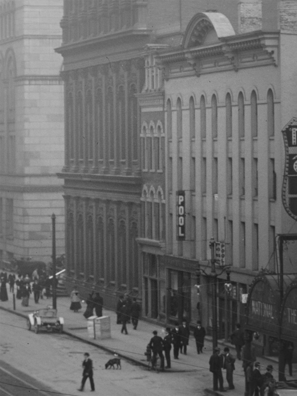 This has to be one of the skinniest buildings on Main Street. It's wedged between the Rochester Savings Bank and perfume manufacturer C.B. Woodworth. Rochester, NY. c.1908. [PHOTO: Detroit Publishing Co. via Library of Congress]
