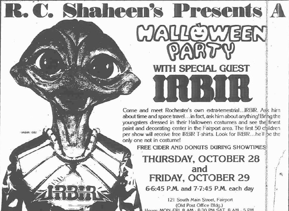 Rochester, New York's alien mascot, IRBIR, as pictured in the Oct. 27, 1982, issue of the now-defunct Fairport (N.Y.) Herald-Mail newspaper. IRBIR is an acronym for Rochester's tourism slogan of the period, 'I'd Rather Be In Rochester.' [IMAGE: Deepthirteen, Flickr]