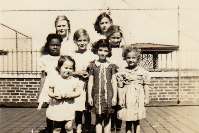 Children (patients) on the roof of Iola Tuberculosis Sanatorium (c.1939). That's Marilyn Casserino in the center. [PHOTO COURTESY OF: Marilyn Murphree]