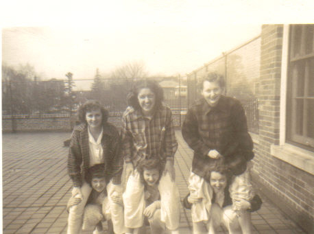 Jean Bissiett as a teenager, having fun with other patients on the roof at Iola (c.1946). [PHOTO COURTESY OF: Mark Hosier]