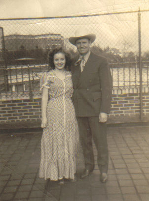 Jean Bissiett with Gene Autry, the Singing Cowboy. Autry came to visit the patients at Iola (c.1946). [PHOTO COURTESY OF: Mark Hosier]