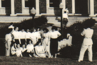 Patients posing for a group portrait in front of the Children's Building at Iola Tuberculosis Sanatorium (c.1946). [PHOTO COURTESY OF: Mark Hosier]