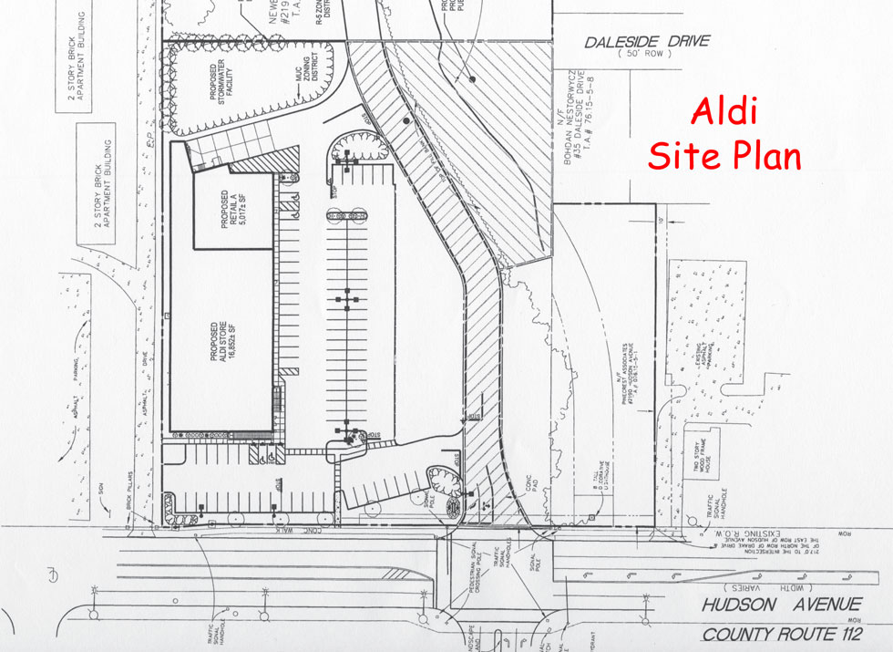This plan for a new Aldi grocery store in Irondequoit is a good example of a suburban style development that can be made more pedestrian-friendly.