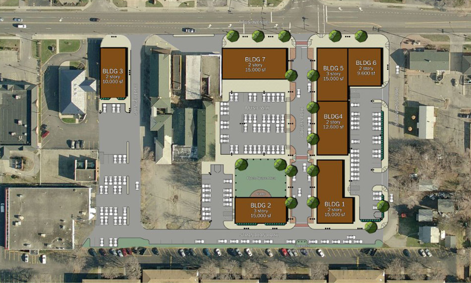 I-Square, as proposed, would contain a block of seven buildings near Irondequoit's Titus Avenue-Cooper Road intersection. Titus is at the top of the photo.