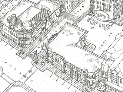 A perspective drawing of proposed 'Irondequoit Square' at Titus and Cooper.
