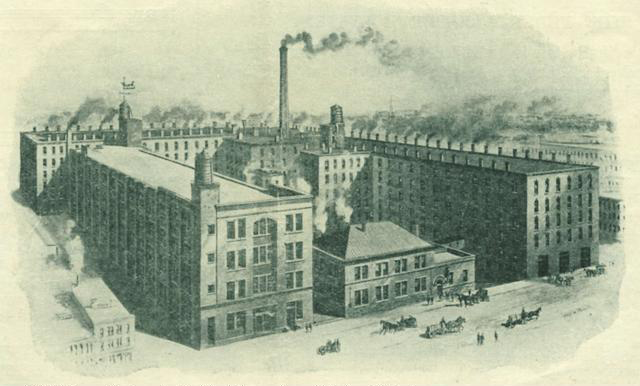 A view of the Canal Street factory complex of James Cunningham, Son & Co. [SOURCE: Rochester Public Library]