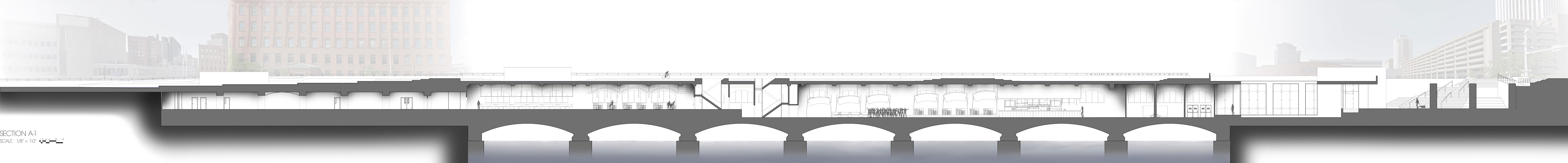 Elevation view. South side of aqueduct bridge. [IMAGE: Kenneth Martin]