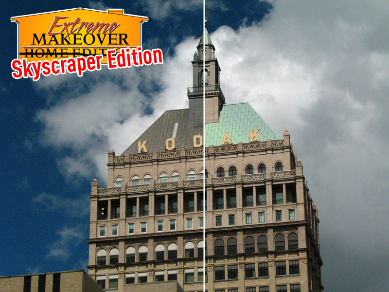 Kodak Tower in Rochester NY was built in 1916 and is absolutely dripping with history. But quite frankly it could use a makeover. Photoshop to the rescue!