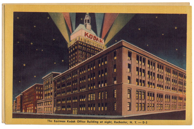After losing the title of Rochester's tallest building, George Eastman ordered the addition of the 17th-19th stories and a tower on the roof. This must have been an artist's rendering of the new addition prior to construction (the perspective lines are a wee bit off).